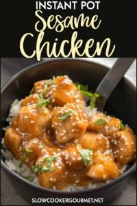 If you need a quick and easy dinner that will please the family but still saves you from take-out, try this Instant Pot Sesame Chicken.  Easy prep, quick to cook and sure to be enjoyed! #slowcookergourmet #instantpot #chicken #sesamechicken #pressurecooker