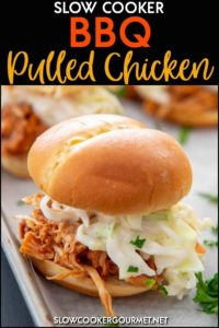 If you are looking a dinner that is so simple yet will get your family and friend scrambling for a seat at the dinner table, why not try this Slow Cooker BBQ Pulled Chicken?! Serve it up as sandwiches, tacos, nachos or anything you can dream up! #slowcookergourmet #slowcooker #bbqchicken #pulledchicken #chickenrecipe
