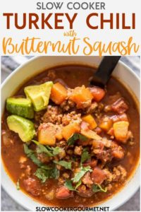 There are some meals that I love so much I make them nearly every week! This Slow Cooker Turkey Chili with Butternut Squash is the perfect healthy and hearty family meal or even the best make-ahead lunch! #slowcookergourmet #chili #turkey #turkeychili