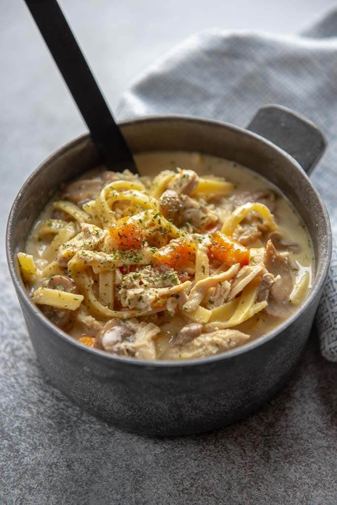 instant pot creamy chicken noodle soup in a metal bowl