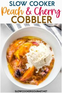 Is there anything better than juicy peaches and tart cherries with a crumble (or is it cobbler?) topping? Yes! When it's topped with ice cream and is easy to make like this Slow Cooker Peach and Cherry Cobbler! #slowcookergourmet #slowcookerdessert #dessert #peachcobbler #cobbler #slowcookerrecipe