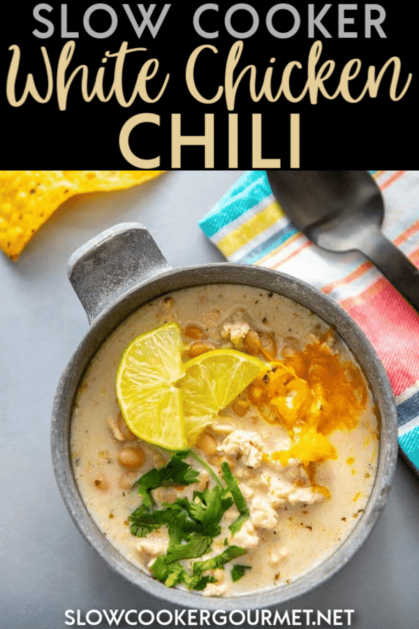 Chili in the slow cooker is always delicious, but there's something extra special about Slow Cooker White Chicken Chili! #slowcooker #whitechicken #chili