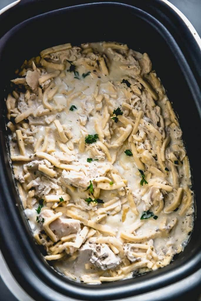 chicken and noodles in slow cooker