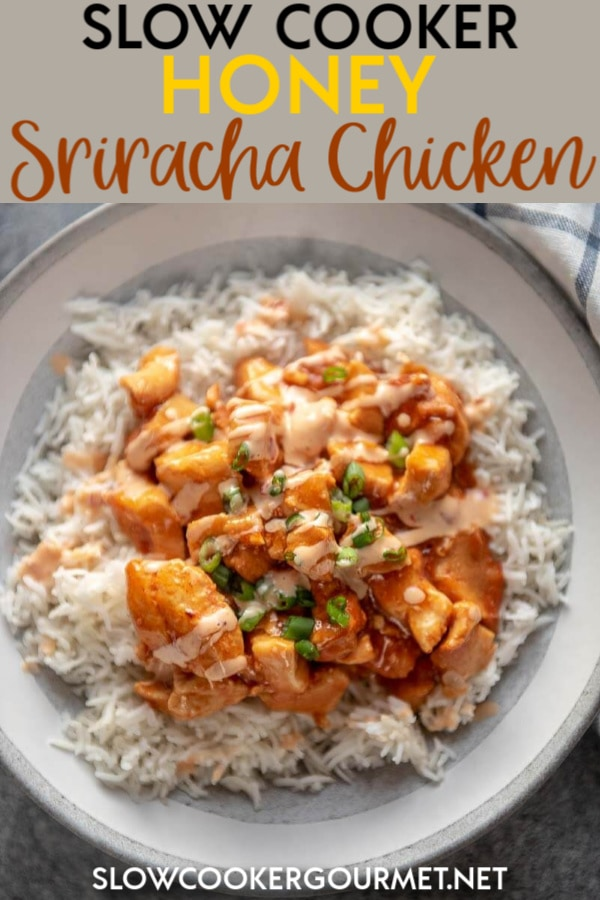 If you love chicken with a kick then this is the dinner for you! Slow Cooker Honey Sriracha Chicken is a little spicy and a little sweet with the addition of the cool drizzle sauce! #slowcooker #chickenrecipe #sriracha
