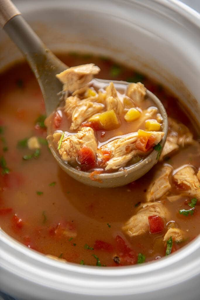 ladle full of slow cooker spicy chicken soup