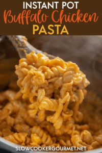 You've been asking and I'm finally delivering! One of the most made recipes on the blog, Slow Cooker Buffalo Chicken Pasta, has been converted to the Instant Pot! So cheesy, spicy and delicious.. and now, quick!! #instantpot #pasta #buffalochicken