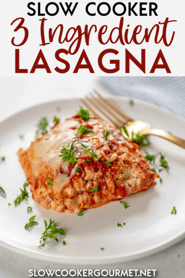 Making lasagna in the slow cooker is a genius way to get a delicious meal on the table! This 3 Ingredient Slow Cooker Lasagna is so easy and tasty, it will blow your mind!! #slowcooker #lasagna #vegetarianrecipe