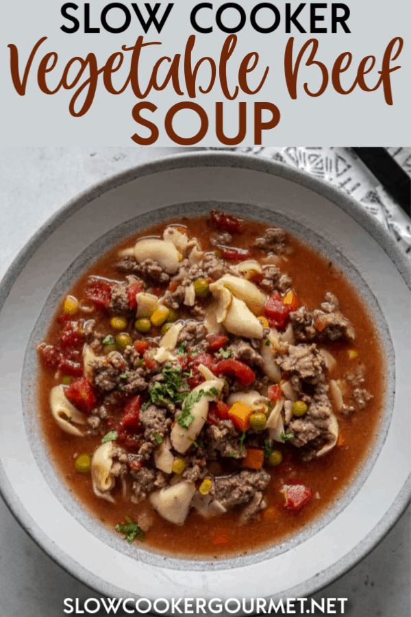Need a quick and simple dinner tonight? Slow Cooker Vegetable Beef Soup is a complete meal in a bowl that's not only delicious but so easy to prepare. #slowcooker #soup #beefrecipe