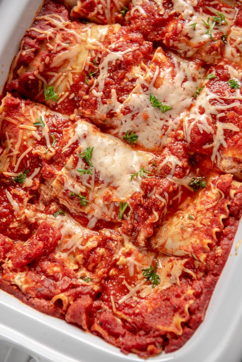 lasagna sliced in casserole slow cooker