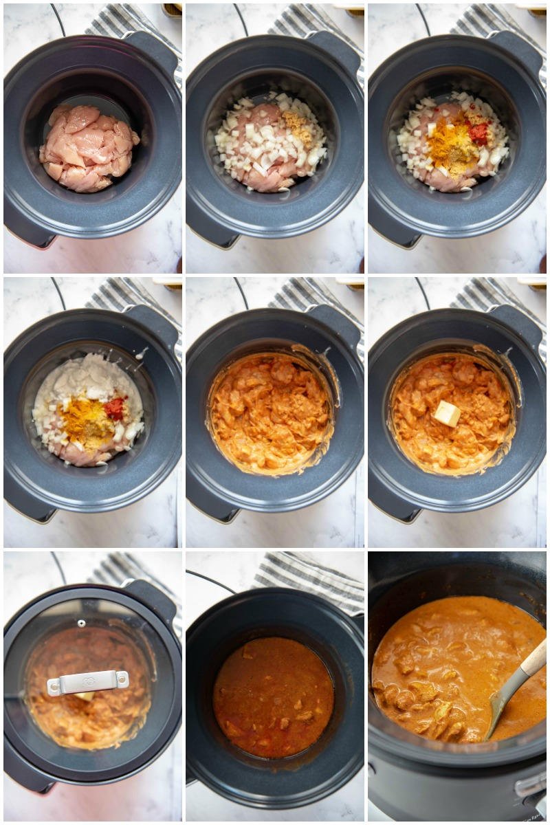 collage of all steps for making slow cooker butter chicken