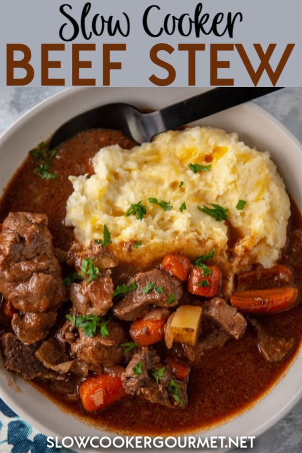 There are hundreds of Slow Cooker Beef Stew Recipes, why make this one? Because you get rich, delicious flavor with no pre-browning or pre-cooking required! Plus, there is NO FLOUR added to this recipe, just a rich, flavorful and smooth sauce. #slowcooker #beefstew #beefrecipe