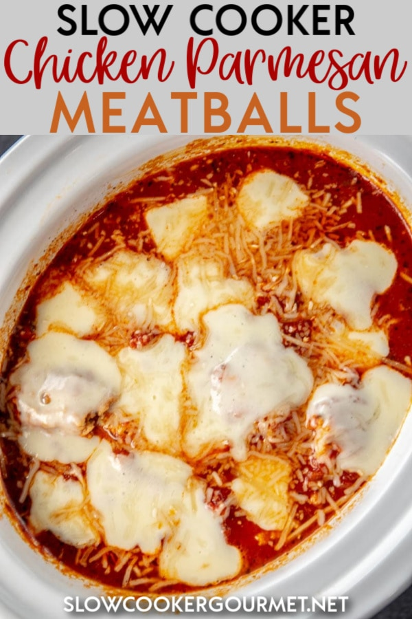 Why go to the hassle and trouble of making classic chicken parmesan when you can make this kid friendly version instead! Slow Cooker Chicken Parmesan Meatballs are even better than the real thing. #slowcooker #chickenmeatballs #chickenparmesan