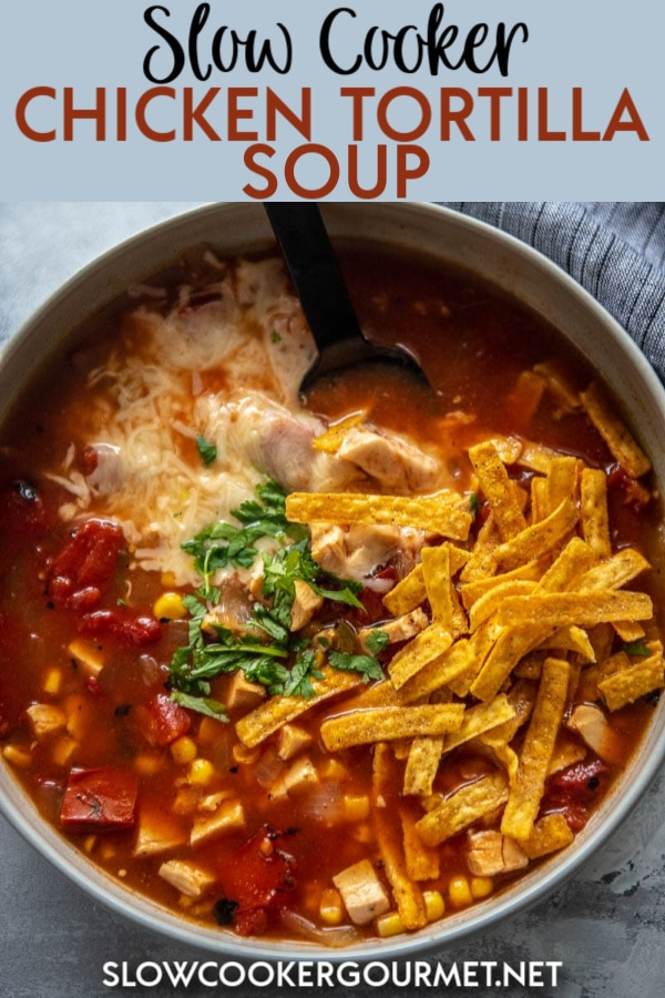 I've tested nearly every version of this recipe I could think of, and finally found the secret to the perfect Slow Cooker Chicken Tortilla Soup! And it's so quick and easy to make, with 8 ingredients and just a few minutes to assemble in the slow cooker. #slowcooker #tortillasoup #chickensoup