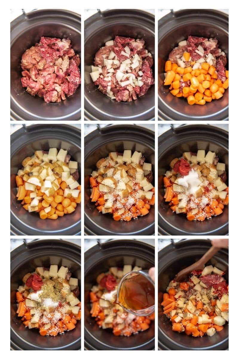 step by step collage of adding beef stew ingredients to slow cooker