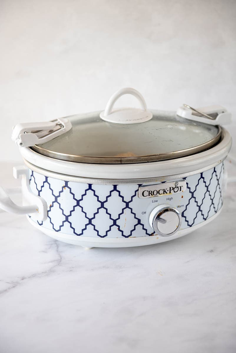 blue and white mini casserole slow cooker