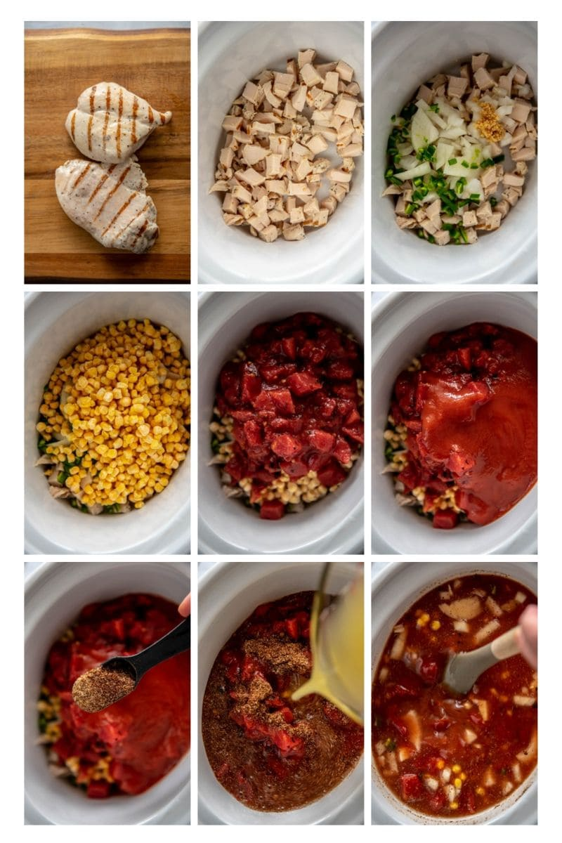 step by step collage how to make chicken tortilla soup in slow cooker
