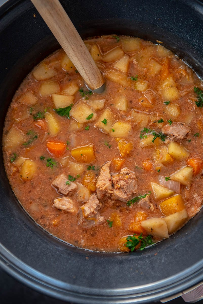 pork stew in slow cooker with ladle