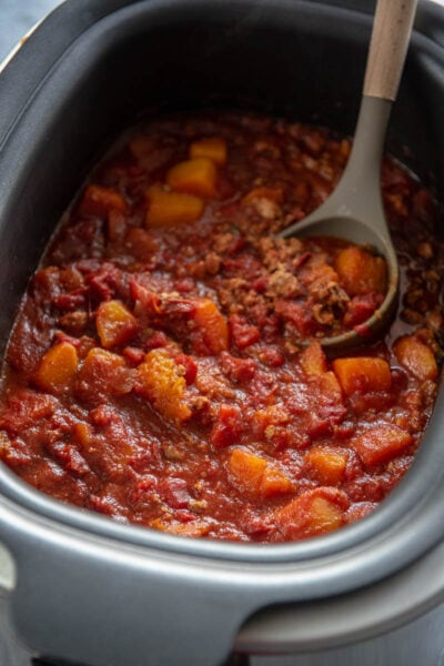 rectangle slow cooker filled with turkey chili