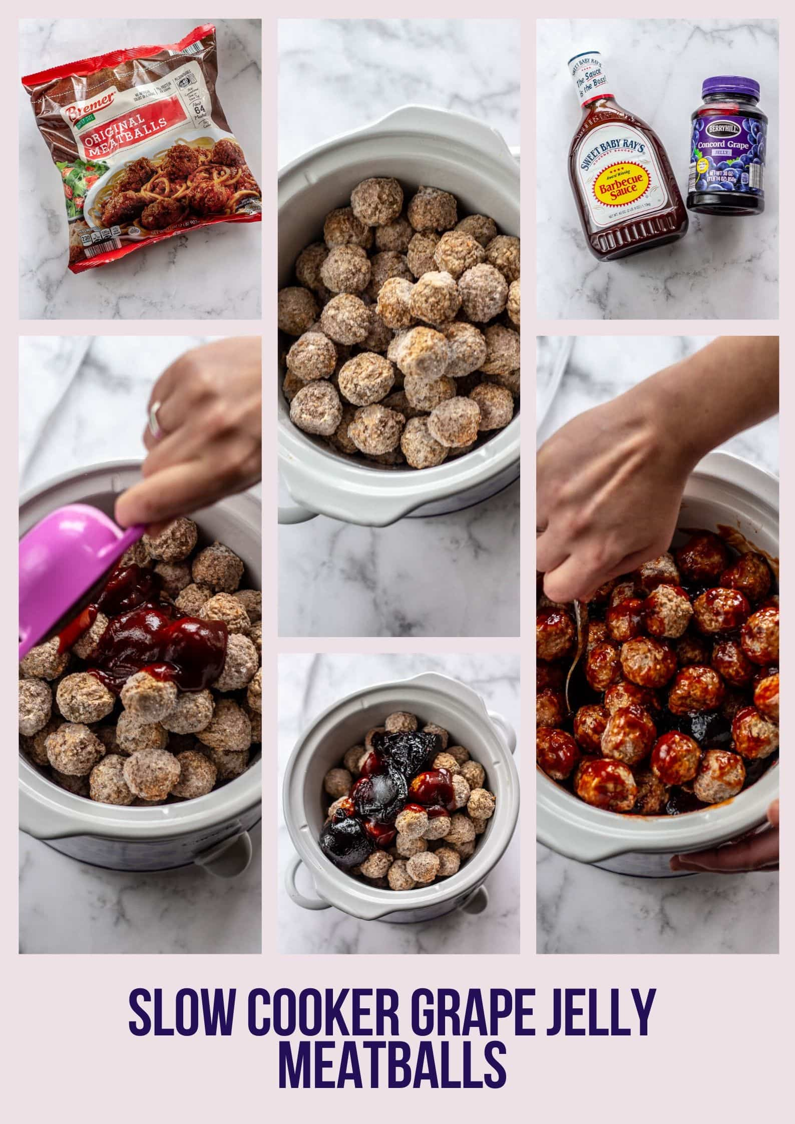 collage of steps to make slow cooker grape jelly meatballs