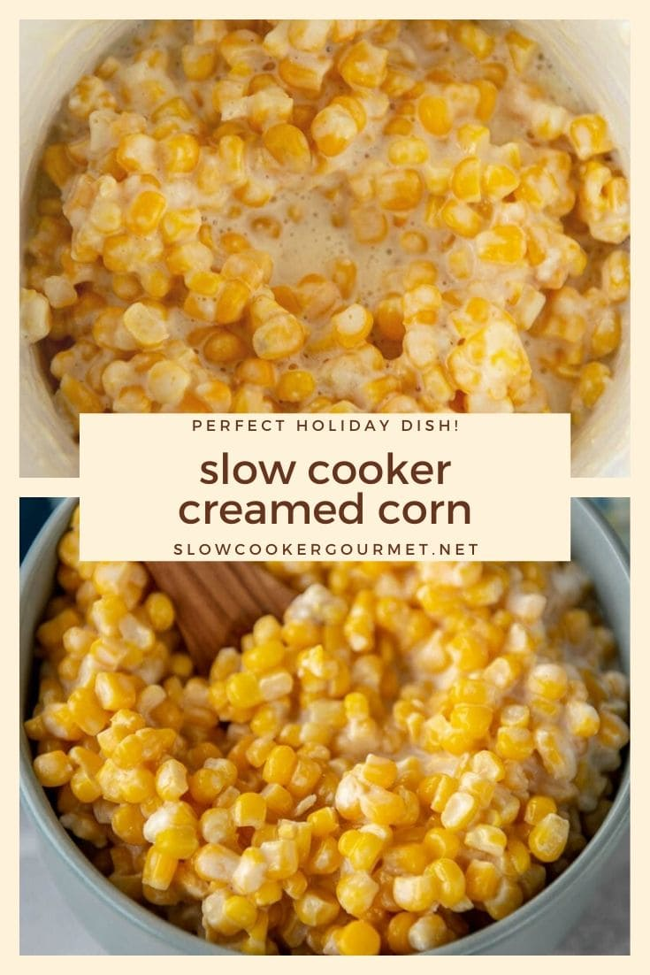 A family tradition for generations, this Slow Cooker Creamed Corn recipe is perfect for any holiday meal! Only 5 ingredients and your slow cooker make this recipe so easy, you'll never use canned creamed corn again! #slowcooker #creamedcorn #sidedish