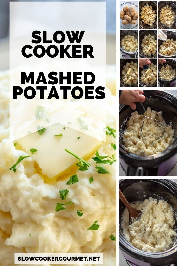 Love mashed potatoes but hate the work? Simplify your holiday or family dinner with these super easy, no-boil Slow Cooker Mashed Potatoes! Make ahead and keep on warm for a no fuss side dish this Thanksgiving.#slowcooker #mashedpotatoes #sidedish
