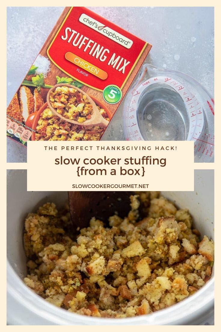 Need a hack to make your Thanksgiving dinner a bit easier? How about using your slow cooker to make your boxed stuffing mix? No stove, no boiling! Just stuffing ready when you are! #slowcooker #thanksgiving #stuffing