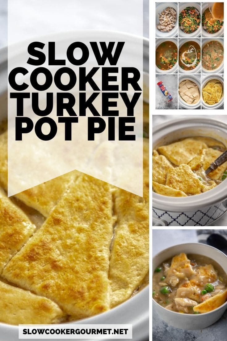 This Slow Cooker Turkey Pot Pie is so good it will have you making enough for leftovers on purpose! Use your leftover turkey, gravy plus just 3 other ingredients for the easiest and most delicious pot pie filling ever! #slowcooker #turkeypotpie #leftovers #thanksgiving