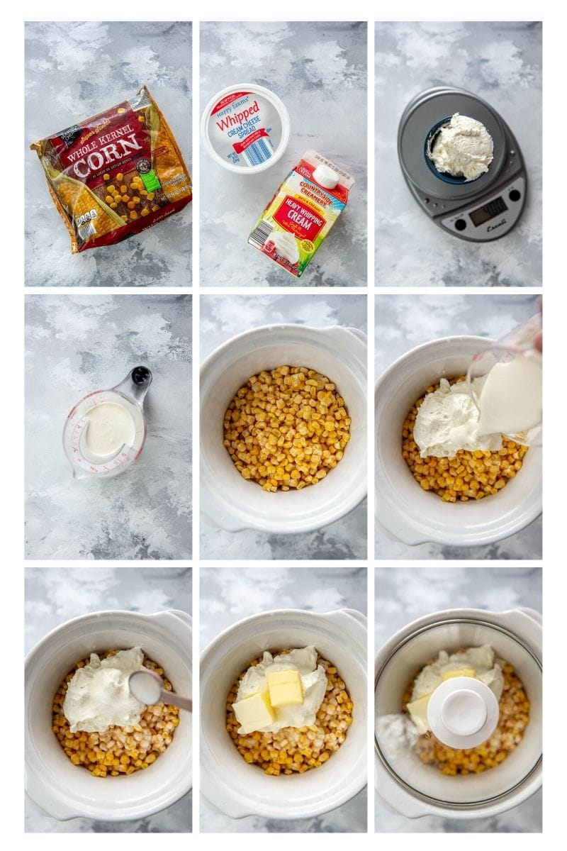 collage of slow cooker creamed corn step by step instructions