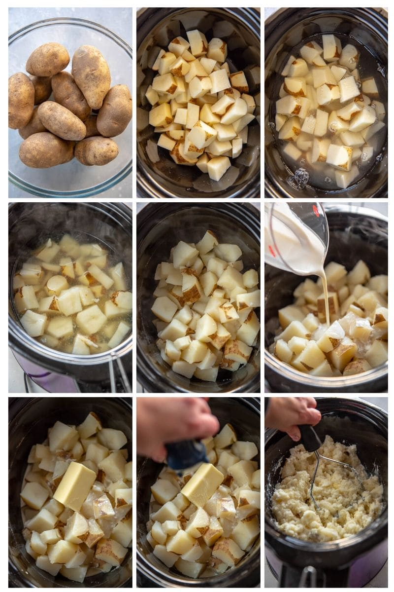 step by step photo collage making mashed potatoes in a slow cooker
