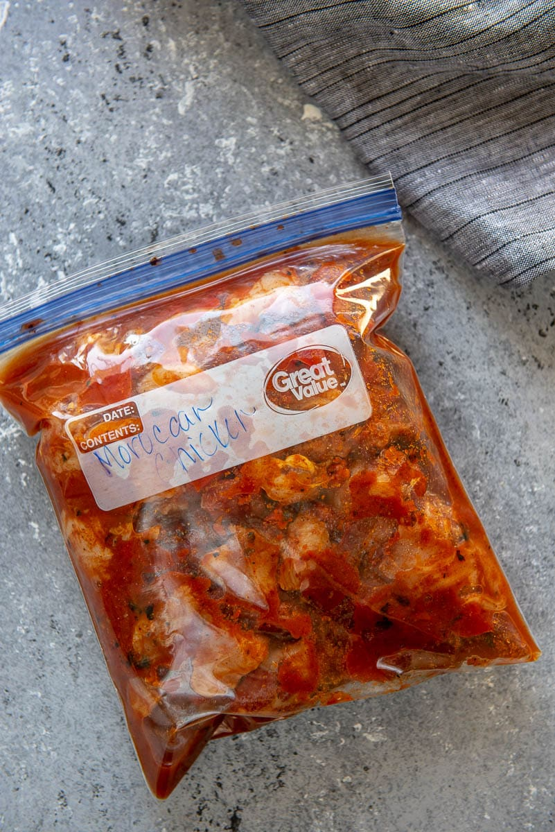 freezer bag of moroccan chicken with tomatoes