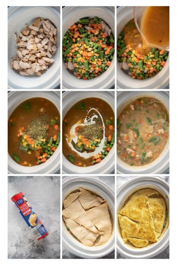 photo collage of step to make slow cooker turkey pot pie
