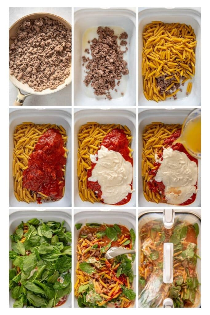 step by step photo collage making slow cooker pasta bake