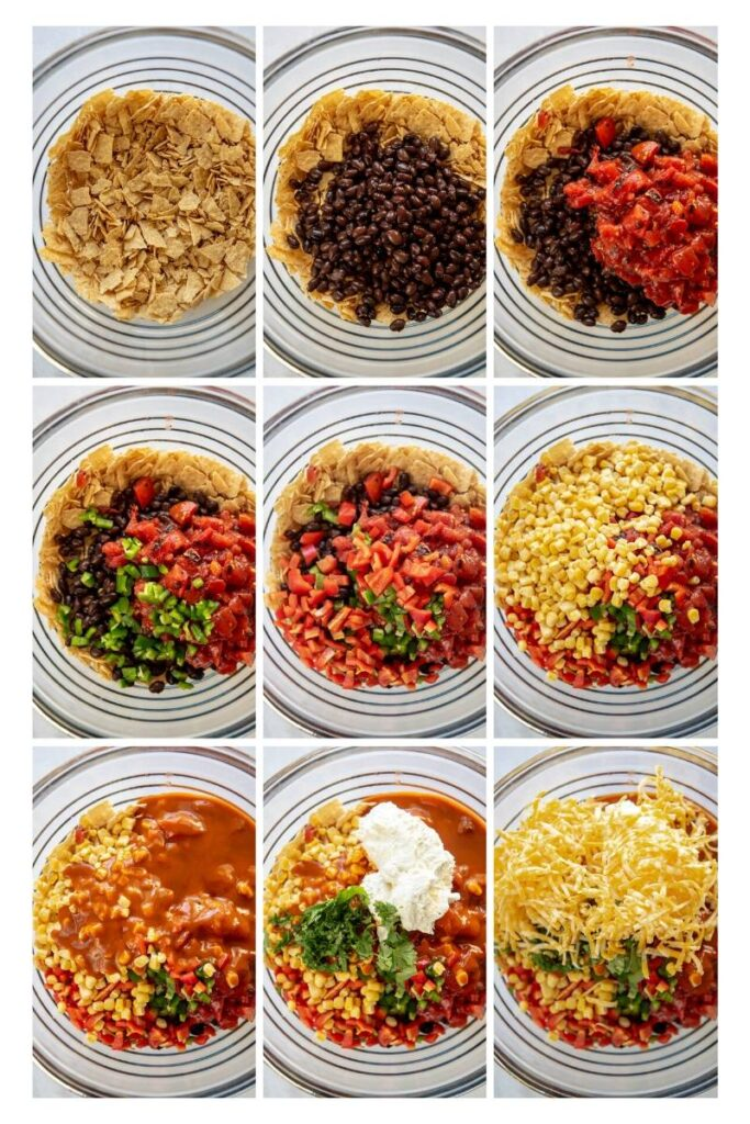 collage of step by step photos assembling taco casserole in slow cooker