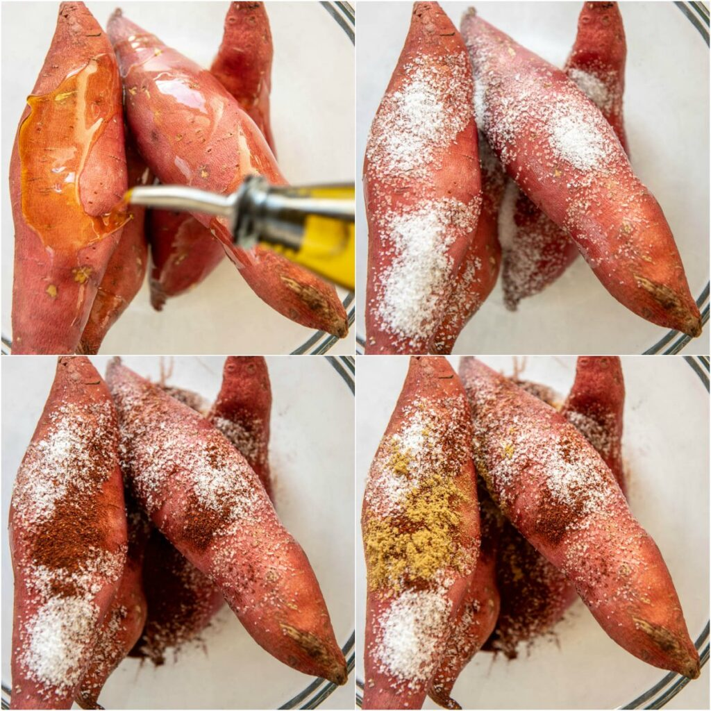 collage of adding seasoning to sweet potatoes