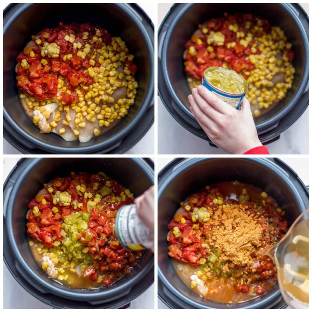 step by step collage making spicy chicken soup