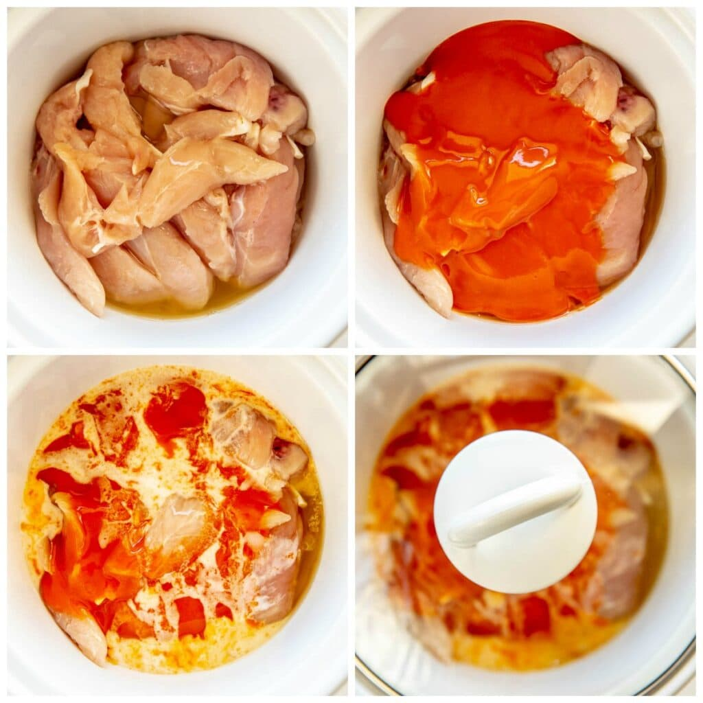 step by step adding ingredients to slow cooker for buffalo chicken
