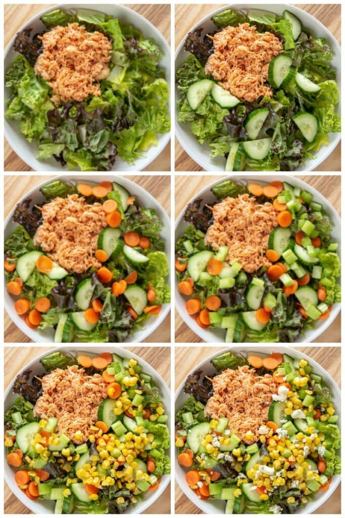 step by step collage assembling buffalo chicken salad