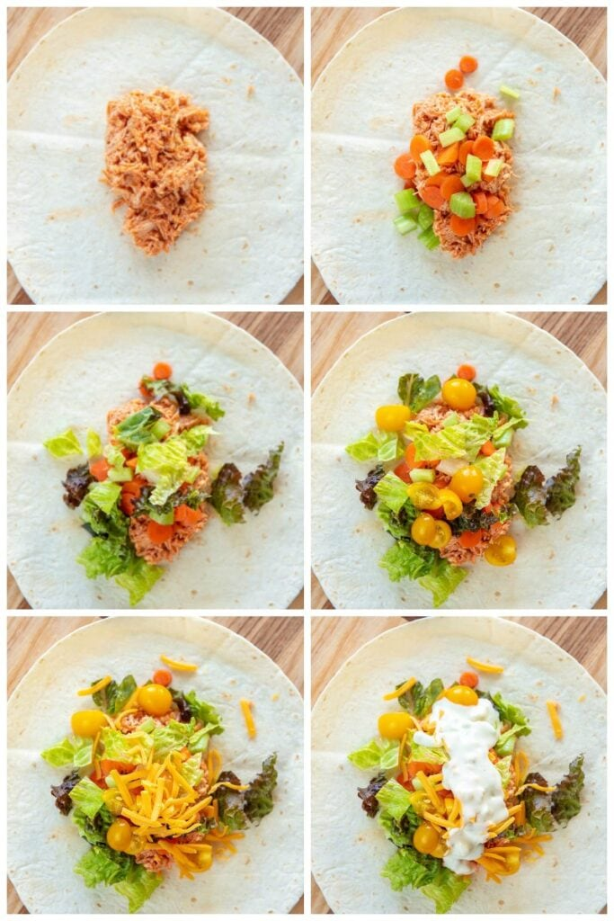 step by step assembling buffalo chicken wrap