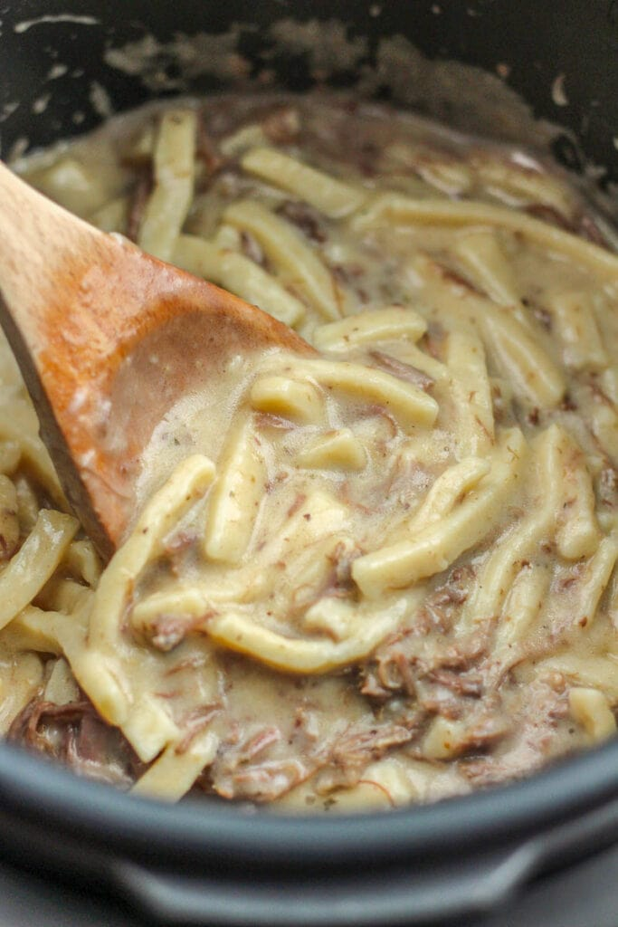cooked beef and noodles in instant pot