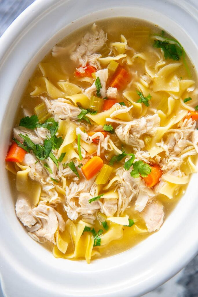 slow cooker with chicken noodle soup
