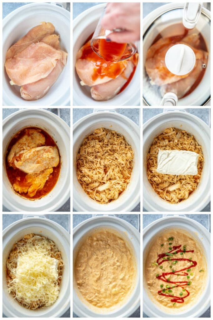 step by step collage making sriracha chicken dip in slow cooker