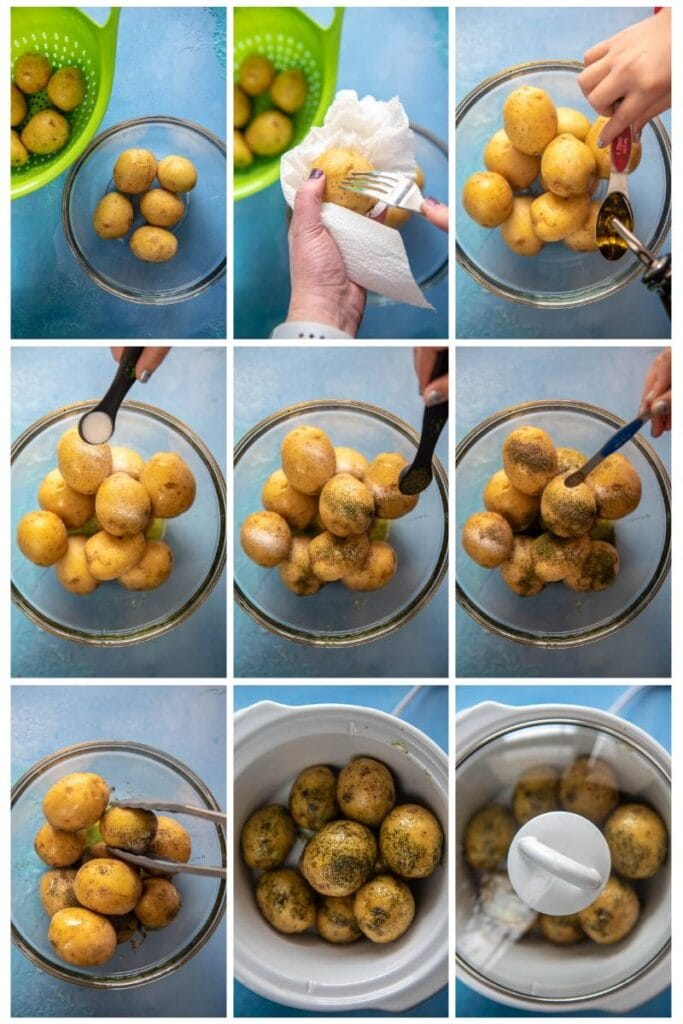 step by step collage making baby potatoes for slow cooker
