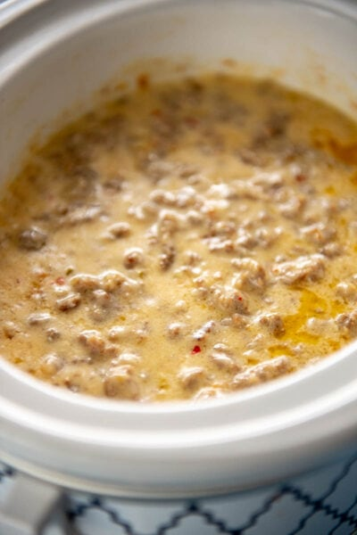 sausage cheese dip in slow cooker