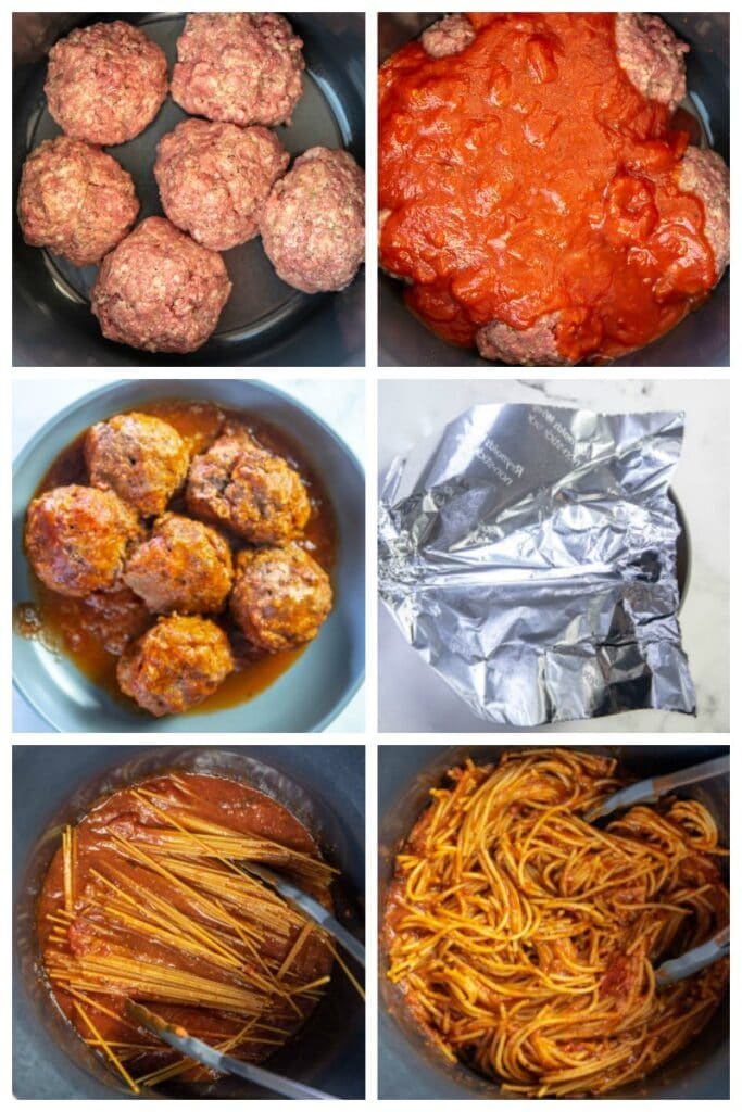 step by step collage making meatballs and spaghetti in slow cooker