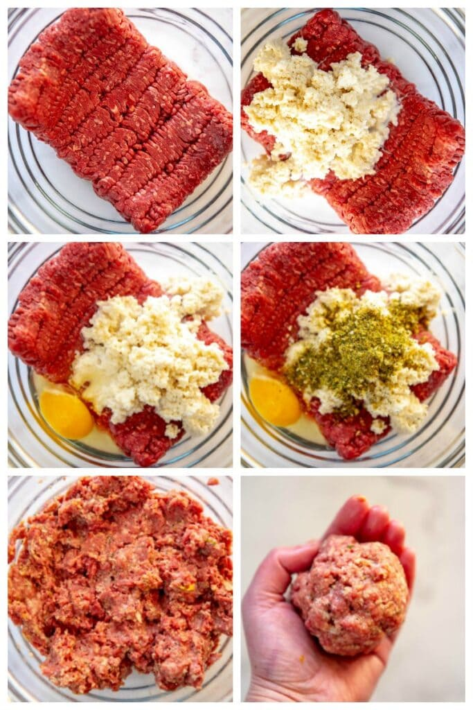 step by step collage making meatballs