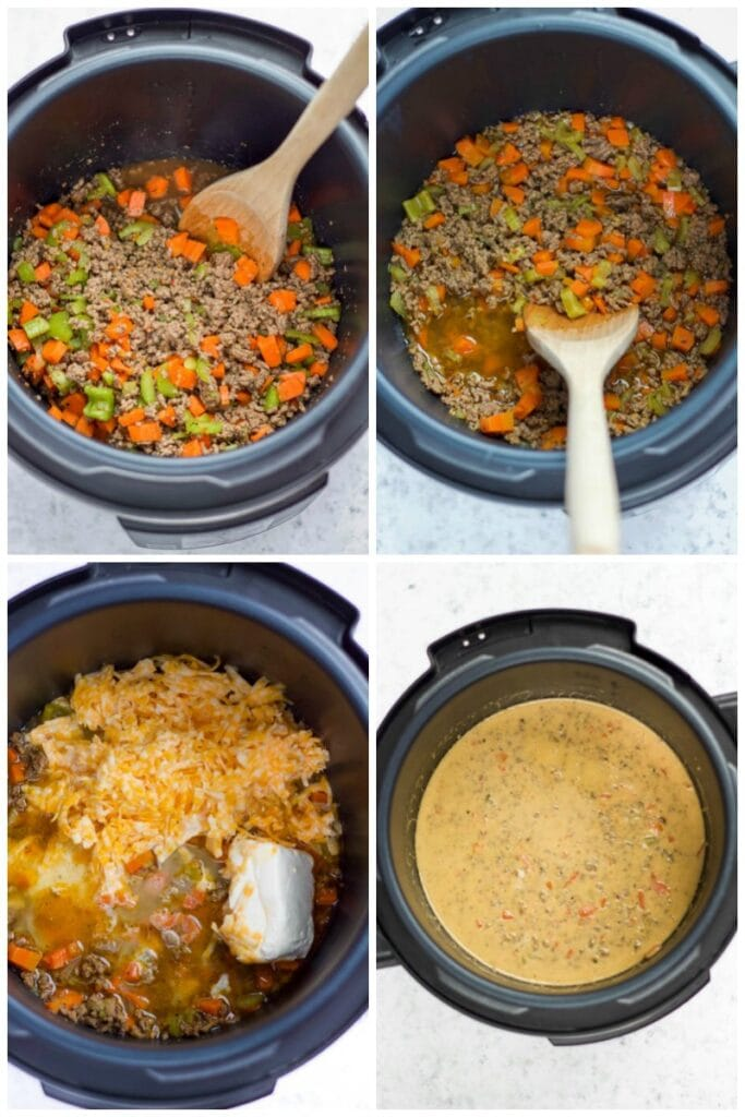 step by step making cheeseburger soup