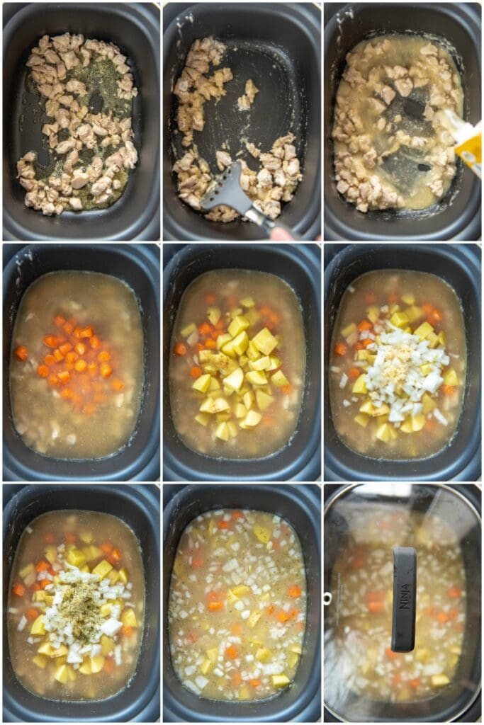 step by step making slow cooker chicken stew