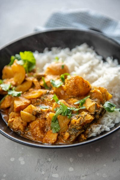 coconut curry chicken in a bowl