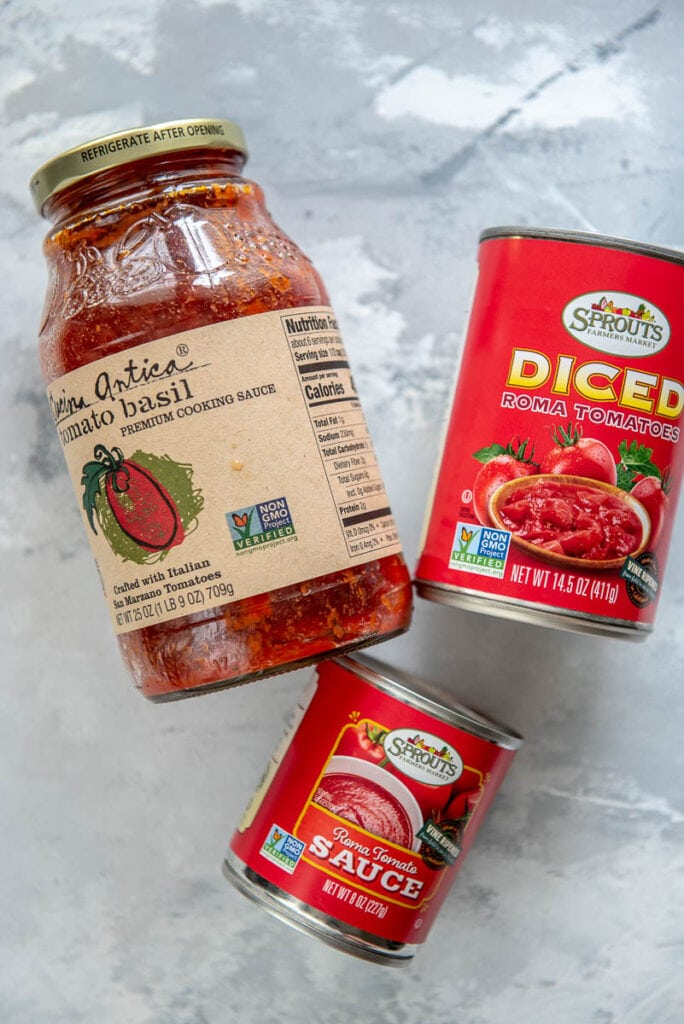 jar of pasta sauce, can of diced tomatoes, and