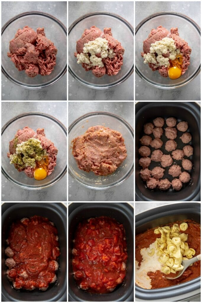 step by step collage showing step for making turkey meatballs and adding to slow cooker with tomatoes and pasta